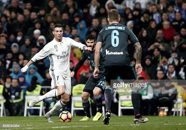 Cristiano Ronaldo of Real Madrid in action during the La Liga soccer match between Real Madrid CF and Real Sociedad at Santiago Bernabeu Stadium in...