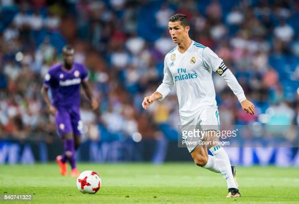 Cristiano Ronaldo of Real Madrid in action during the Santiago Bernabeu Trophy 2017 match between Real Madrid and ACF Fiorentina at the Santiago...