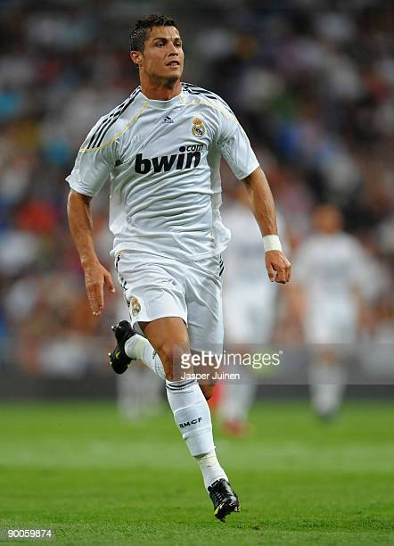 Cristiano Ronaldo of Real Madrid in action during the Santiago Bernabeu Trophy match between Real Madrid and Rosenborg at the Santiago Bernabeu...