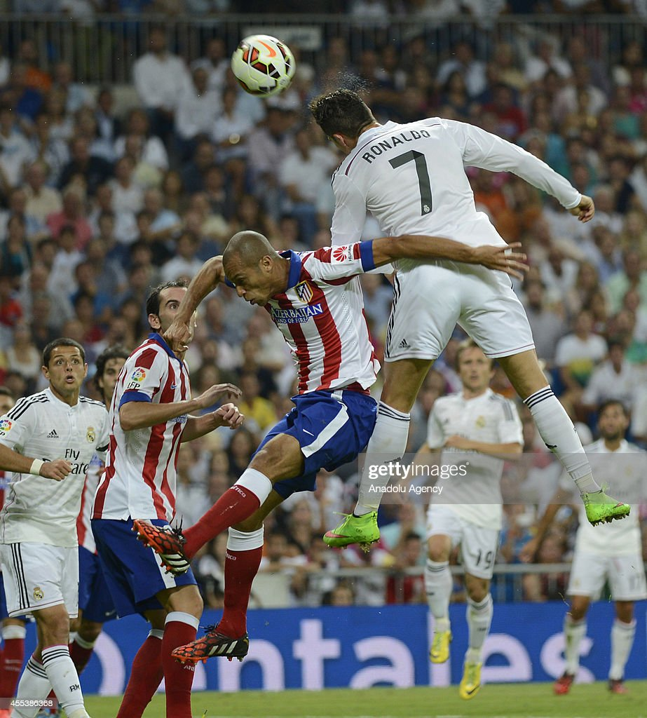 Cristiano Ronaldo (7) of Real Madrid in action during the Spanish La Liga soccer match between Real Madrid and Atletico Madrid at the Santiago Bernabeu stadium in Madrid, Spain on September 13, 2014.