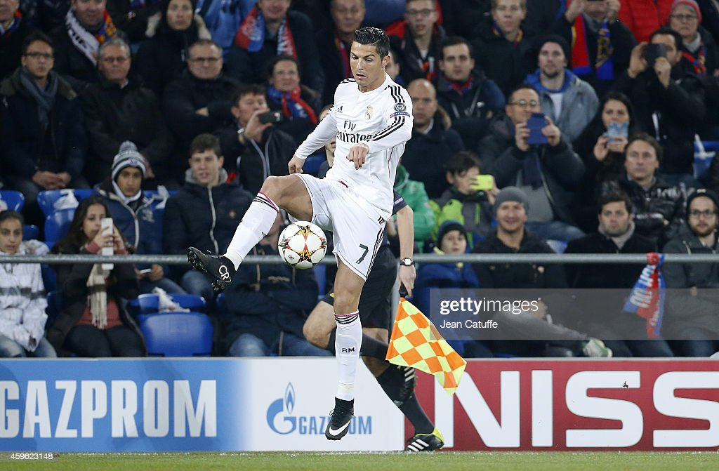 Cristiano Ronaldo of Real Madrid in action during the UEFA Champions League Group B match between FC Basel 1893 and Real Madrid CF at St. Jakob-Park stadium on November 26, 2014 in Basel, Basel-Stadt, Switzerland.