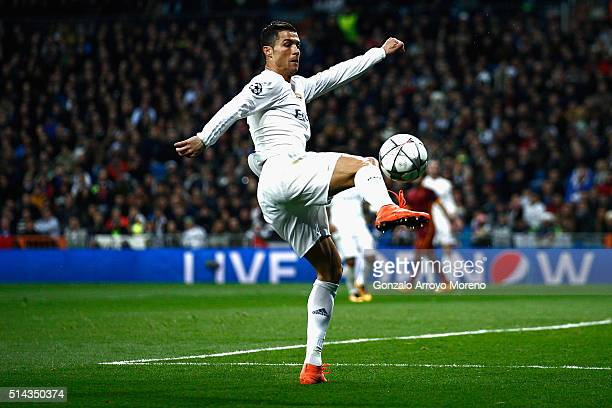 Cristiano Ronaldo of Real Madrid in action during the UEFA Champions League Round of 16 Second Leg match between Real Madrid and Roma at Estadio...