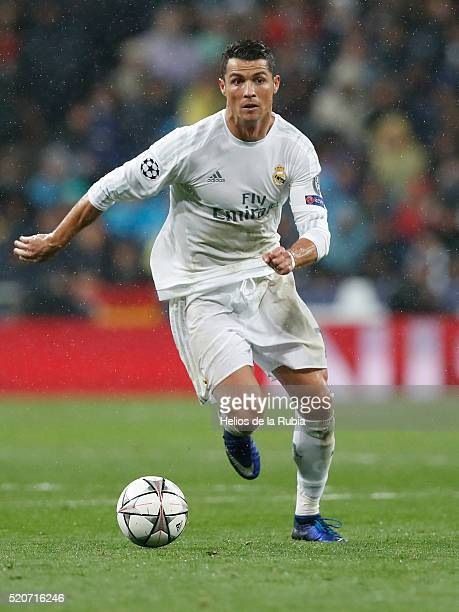 Cristiano Ronaldo of Real Madrid in action during the UEFA Champions League quarter final second leg match between Real Madrid and VfL Wolfsburg at...