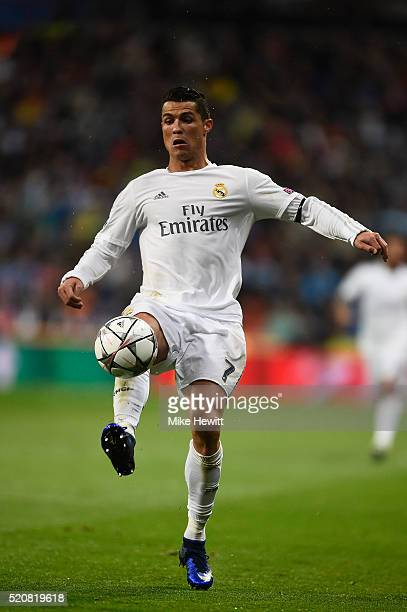 Cristiano Ronaldo of Real Madrid in action during the UEFA Champions League quarter final second leg match between Real Madrid CF and VfL Wolfsburg...