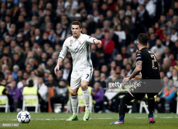 Cristiano Ronaldo of Real Madrid in action during the UEFA Champions League round of 16 match between Real Madrid and Napoli at Santiago Bernabeu...
