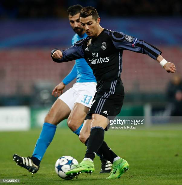Cristiano Ronaldo of Real Madrid in action during the UEFA Champions League Round of 16 second leg match between SSC Napoli and Real Madrid CF at...