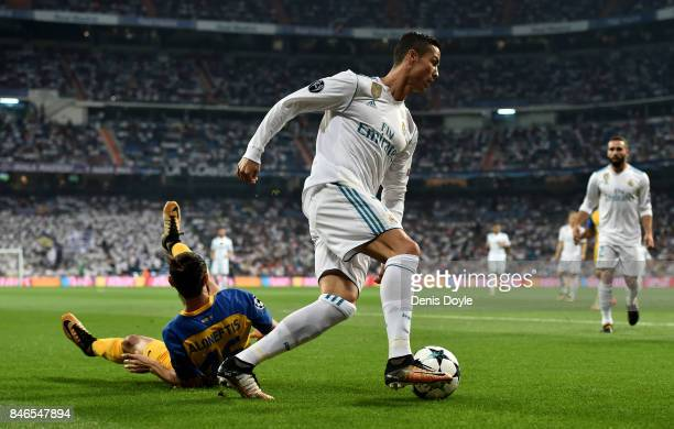 Cristiano Ronaldo of Real Madrid in action during the UEFA Champions League group H match between Real Madrid and APOEL Nikosia at Estadio Santiago...