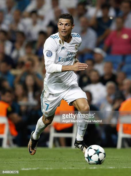 Cristiano Ronaldo of Real Madrid in action during the UEFA Champions League group H match between Real Madrid CF and APOEL Nikosia at Estadio...