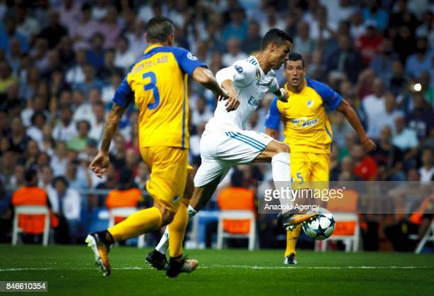 Cristiano Ronaldo of Real Madrid in action during the UEFA Champions League match between Real Madrid and Apoel at Santiago Bernabeu Stadium in...