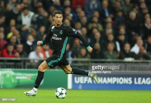 Cristiano Ronaldo of Real Madrid in action during the UEFA Champions League Group H soccer match between Tottenham Hotspur FC and Real Madrid at...