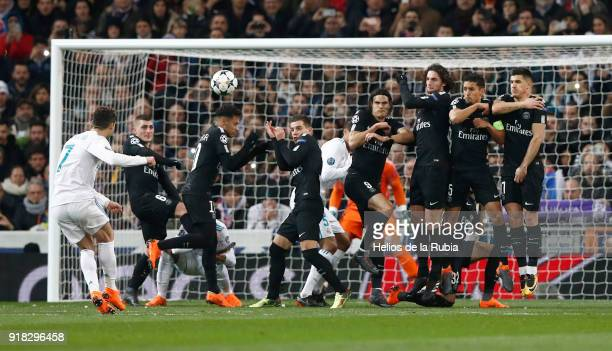 Cristiano Ronaldo of Real Madrid in action during the UEFA Champions League Round of 16 First Leg match between Real Madrid and Paris SaintGermain at...