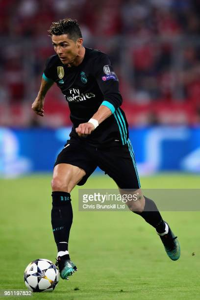 Cristiano Ronaldo of Real Madrid in action during the UEFA Champions League Semi Final First Leg match between Bayern Muenchen and Real Madrid at the...