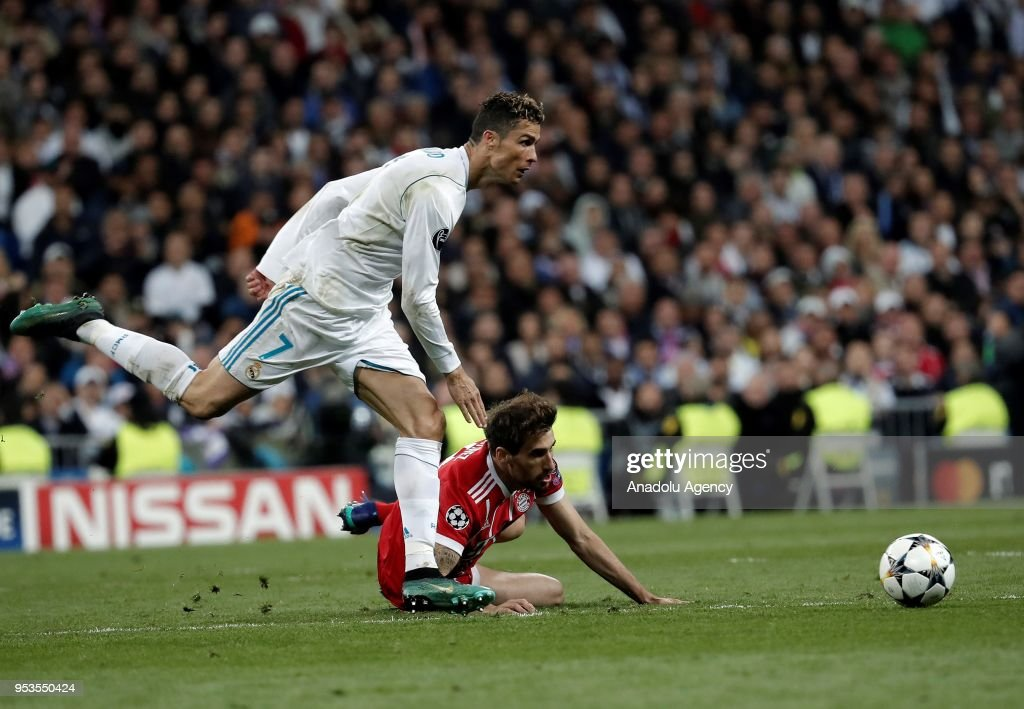 Cristiano Ronaldo of Real Madrid in action during the UEFA Champions League semi final second leg match between Real Madrid and FC Bayern Munich at the Santiago Bernabeu Stadium in Madrid, Spain on May 1, 2018.