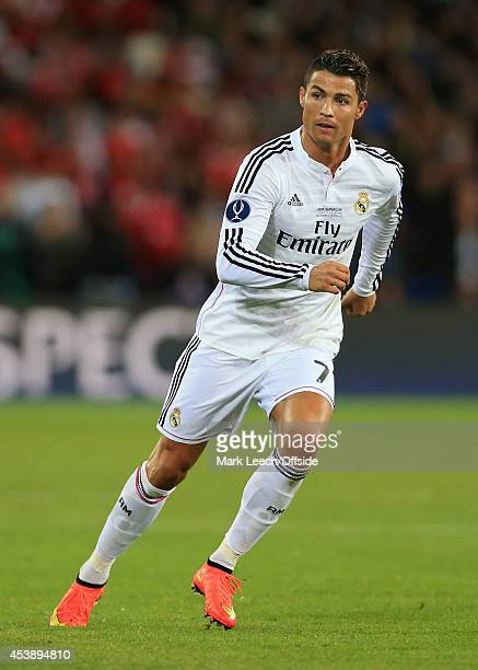 Cristiano Ronaldo of Real Madrid in action during the UEFA Super Cup match between Real Madrid and Sevilla FC at the Cardiff City Stadium on August...