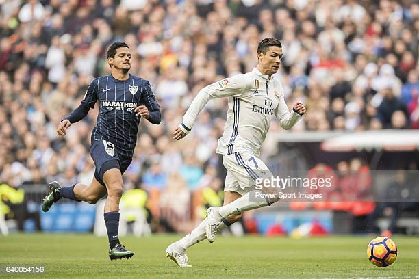 Cristiano Ronaldo of Real Madrid in action during their La Liga 201617 match between Real Madrid and Malaga CF at the Estadio Santiago Bernabéu on 21...