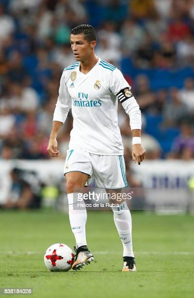Cristiano Ronaldo of Real Madrid in actions during the match Trofeo Santiago Bernabeu between Real Madrid CF and Fiorentina at Santiago Bernabeu...