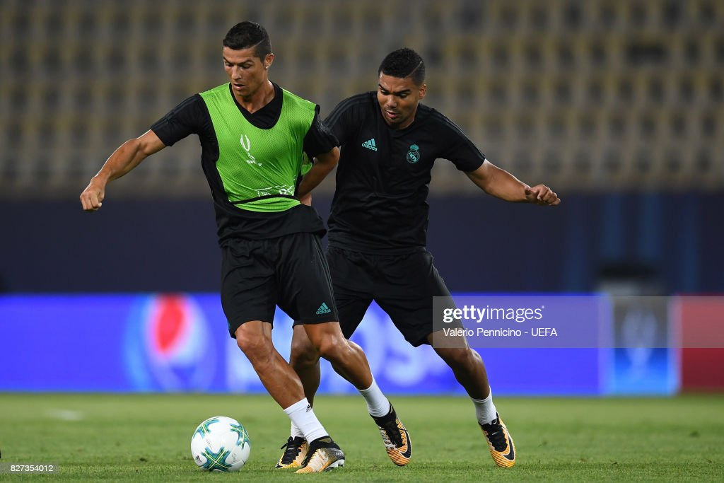 Cristiano Ronaldo (L) of Real Madrid is challenged by Casemiro during the training session ahead of the UEFA Super Cup between Real Madrid and Manchester United at Nacional Arena Philip II Macedoninan on August 7, 2017 in Skopje, Macedonia.