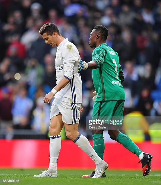 Cristiano Ronaldo of Real Madrid is consoled by Carlos Idriss Kameni of Malaga CF during the La Liga match between Real Madrid CF and Malaga CF at...