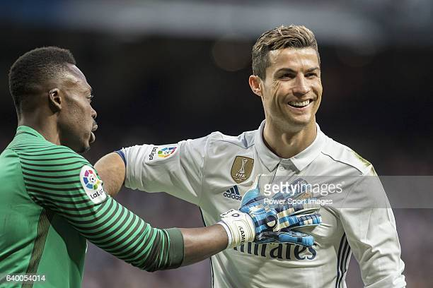 Cristiano Ronaldo of Real Madrid is consoled by goalkeeper Idriss Carlos Kameni of Malaga CF during their La Liga 201617 match between Real Madrid...