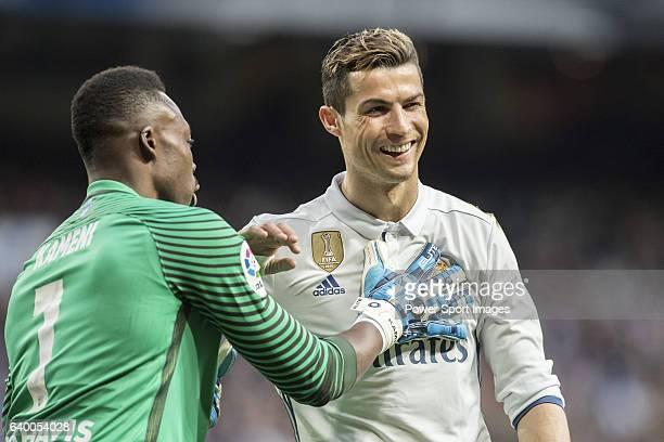 Cristiano Ronaldo of Real Madrid is consoled by goalkeeper Idriss Carlos Kameni of Malaga CF during their La Liga 201617 match between Real Madrid...