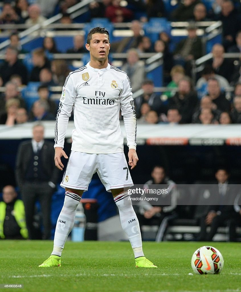 Cristiano Ronaldo of Real Madrid is seen during the La Liga match between Real Madrid and Villarreal at Estadio Santiago Bernabeu in Madrid, Spain on March 1, 2015.