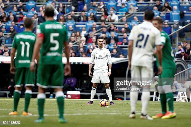 Cristiano Ronaldo of Real Madrid is seen during the La Liga soccer match between Real Madrid and Leganes at the Santiago Bernabeu Stadium in Madrid...