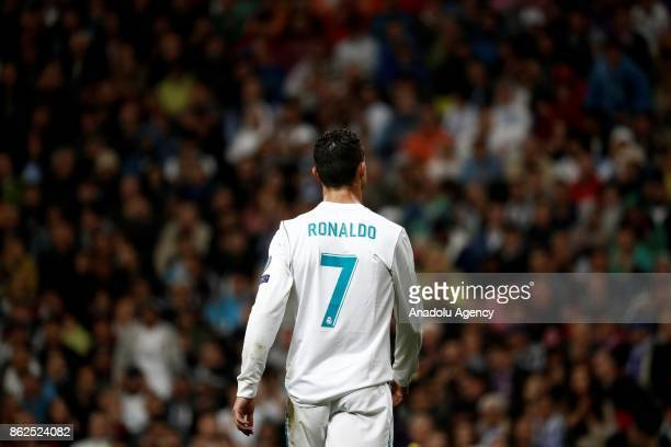 Cristiano Ronaldo of Real Madrid is seen during the UEFA Champions League Group H match between Real Madrid and Tottenham at Santiago Bernabeu...