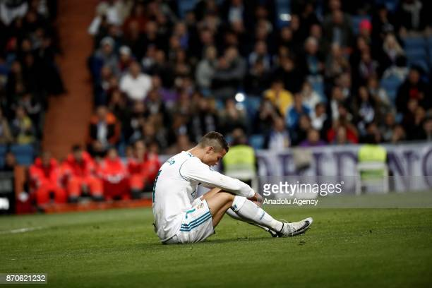 Cristiano Ronaldo of Real Madrid is seen on the ground after getting injured during the Spanish La Liga football match between Real Madrid and Las...