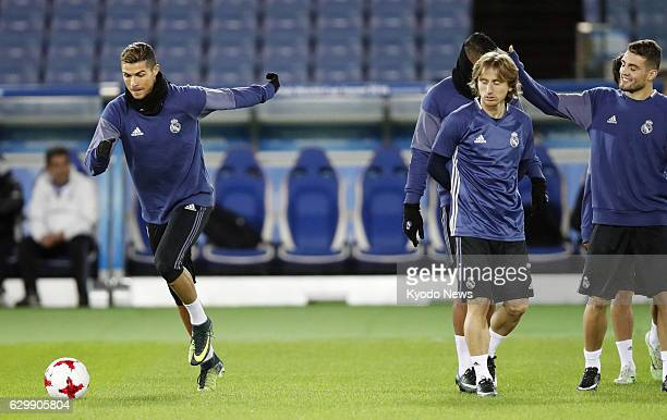 Cristiano Ronaldo of Real Madrid joins the team's training session in Yokohama near Tokyo on Dec 14 prior to the Madrid's Club World Cup opener in...