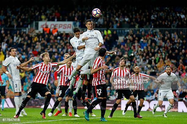 Cristiano Ronaldo of Real Madrid jumps for the ball during the La Liga match between Real Madrid CF and Athletic Club at Estadio Santiago Bernabeu on...