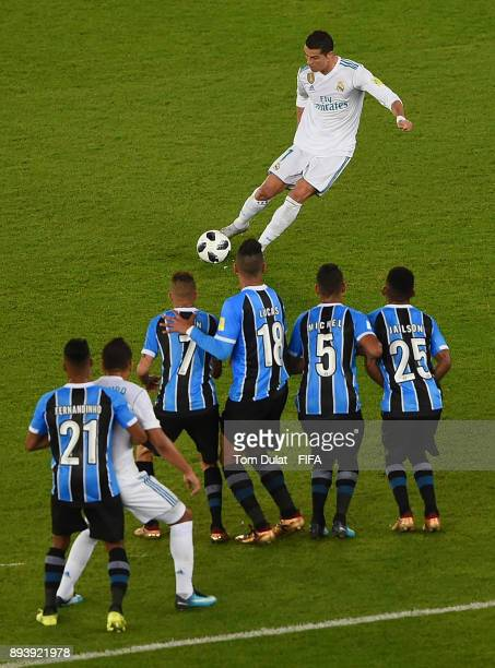 Cristiano Ronaldo of Real Madrid kicks a free kick during the FIFA Club World Cup UAE 2017 final match between Gremio and Real Madrid at Zayed Sports...