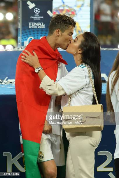 Cristiano Ronaldo of Real Madrid kisses his girlfriend Georgina Rodriguez after the UEFA Champions League final between Real Madrid and Liverpool on...