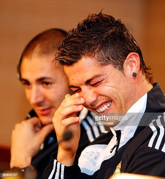 Cristiano Ronaldo of Real Madrid laughs during the press conference at Santiago Bernabeu on December 4 2009 in Madrid Spain
