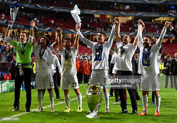 Cristiano Ronaldo of Real Madrid leads the celebration after the UEFA Champions League Final between Real Madrid and Atletico de Madrid at Estadio da...