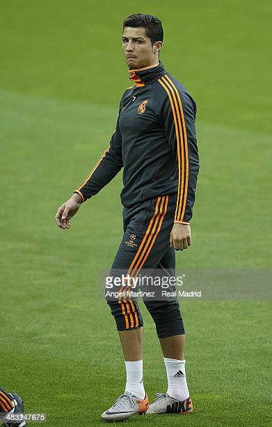 Cristiano Ronaldo of Real Madrid leaves the pitch during a training session ahead of their UEFA Champions League Quarter Final second leg match...