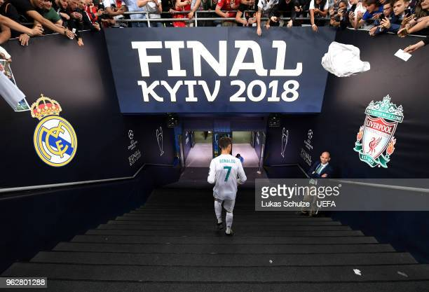 Cristiano Ronaldo of Real Madrid leaves the pitch following the UEFA Champions League Final between Real Madrid and Liverpool at NSC Olimpiyskiy...