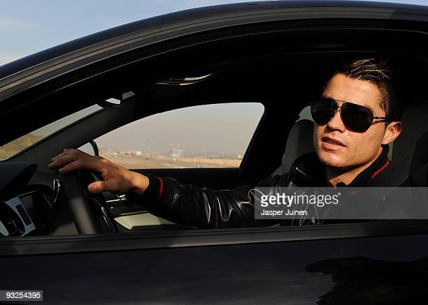 Cristiano Ronaldo of Real madrid leaves the Valdebebas training ground on November 20, 2009 in Madrid, Spain. Ronaldo resumed training today with the...