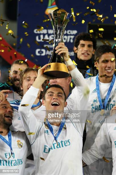 Cristiano Ronaldo of Real Madrid lifts the trophy at the end of the FIFA Club World Cup UAE 2017 final match between Gremio and Real Madrid CF at...