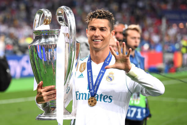 Cristiano Ronaldo of Real Madrid lifts The UEFA Champions League trophy following his sides victory in during the UEFA Champions League Final between...