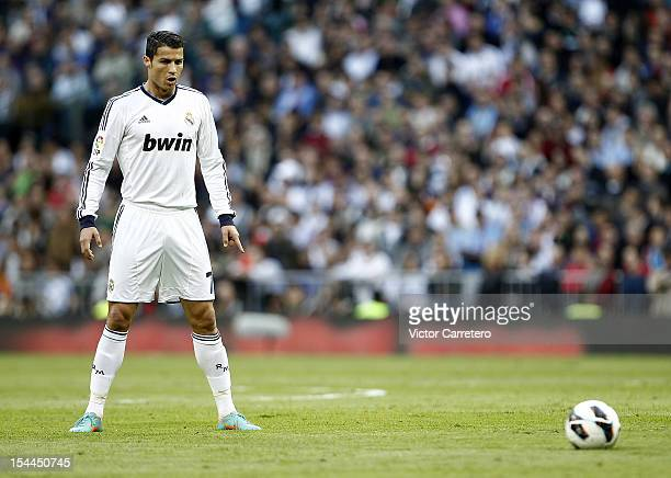 Cristiano Ronaldo of Real Madrid lines up a free kick during the La Liga match between Real Madrid and Celta de Vigo at Bernabeu on October 20 2012...