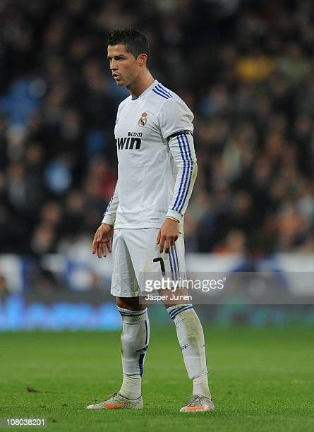 Cristiano Ronaldo of Real Madrid lines up a free kick during the quarter-final Copa del Rey first leg match between Real Madrid and Atletico Madrid...