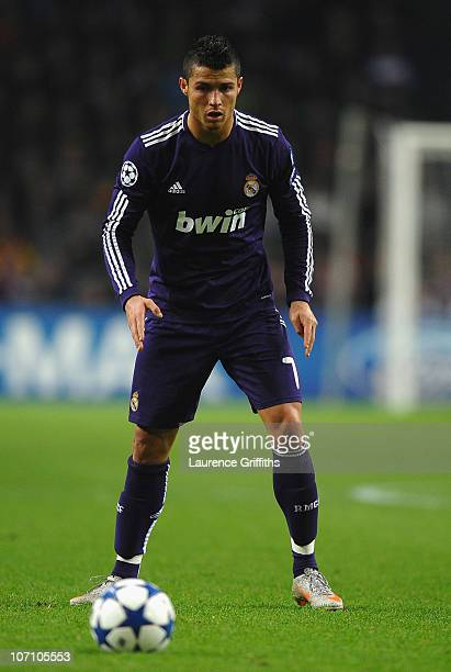 Cristiano Ronaldo of Real Madrid lines up a free kick during the UEFA Champions League Group G match between AFC Ajax and Real Madrid at the Ajax...