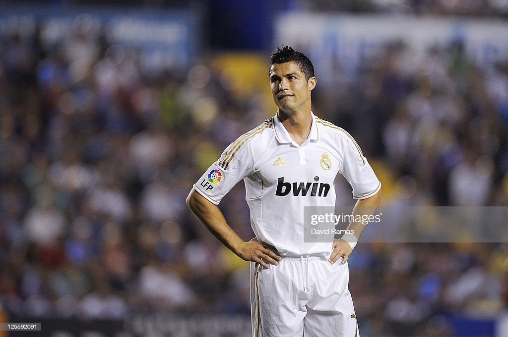 Cristiano Ronaldo of Real Madrid looks dejected during the La Liga match between Levante UD and Real Madrid CF at Ciutat de Valencia Stadium on September 18, 2011 in Valencia, Spain. Levante UD won 1-0.