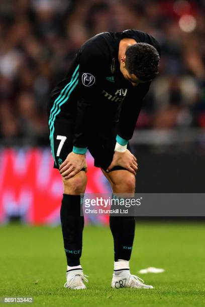 Cristiano Ronaldo of Real Madrid looks dejected during the UEFA Champions League group H match between Tottenham Hotspur and Real Madrid at Wembley...