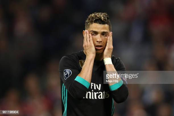 Cristiano Ronaldo of Real Madrid looks dejected during the UEFA Champions League Semi Final First Leg match between Bayern Muenchen and Real Madrid...