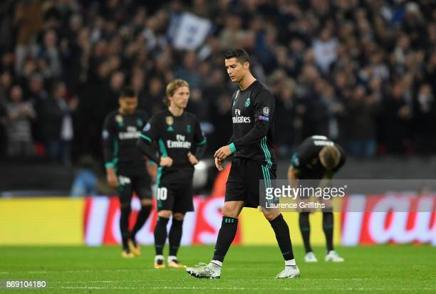 Cristiano Ronaldo of Real Madrid looks dejected following Tottenham Hotspur's second goal during the UEFA Champions League group H match between...