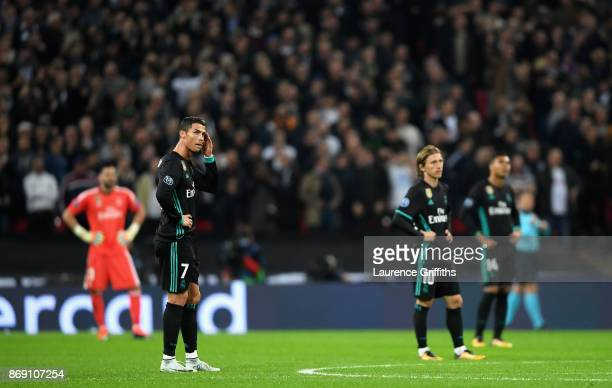 Cristiano Ronaldo of Real Madrid looks dejected following Tottenham Hotspur's third goal during the UEFA Champions League group H match between...