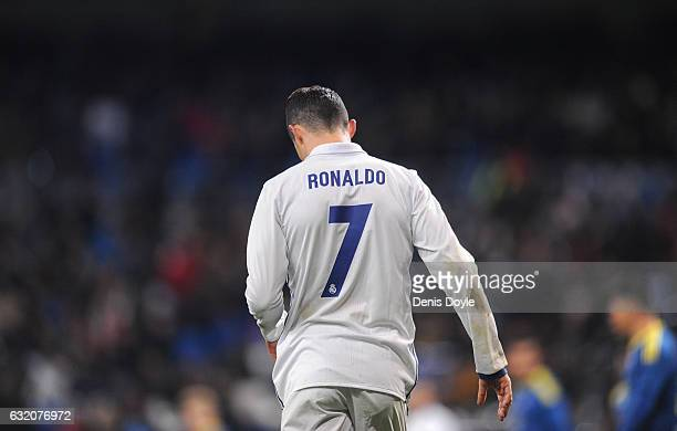 Cristiano Ronaldo of Real Madrid looks down during the Copa del Rey Quarter Final First Leg match between Real Madrid CF and Celta Vigo at Bernabeu...