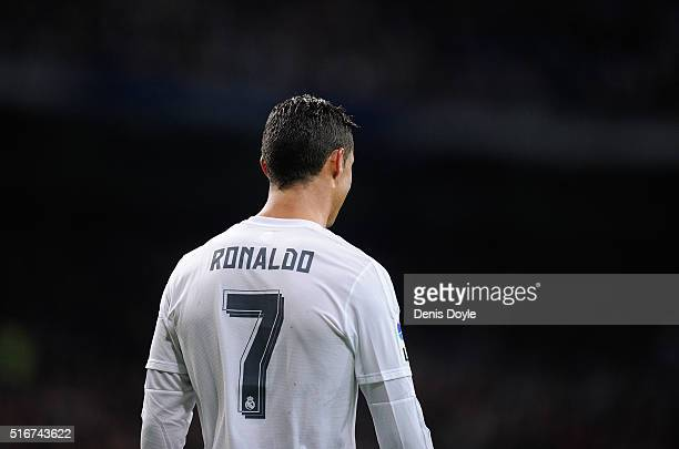 Cristiano Ronaldo of Real Madrid looks on after scoring Real's 2nd goal during the La Liga match between Real Madrid CF and Sevilla FC at Estadio...