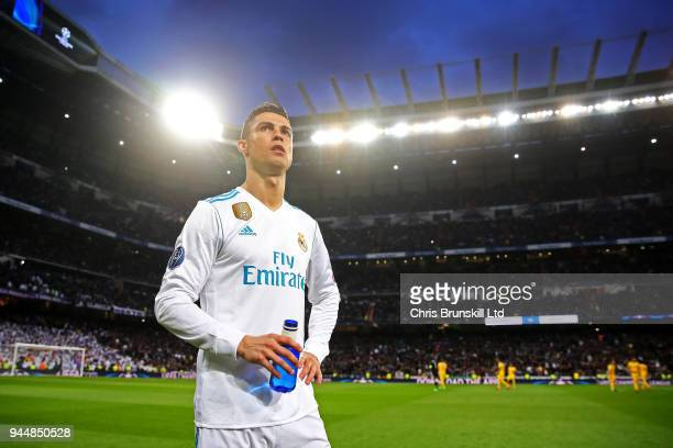 Cristiano Ronaldo of Real Madrid looks on ahead of the UEFA Champions League Quarter Final second leg match between Real Madrid and Juventus at...
